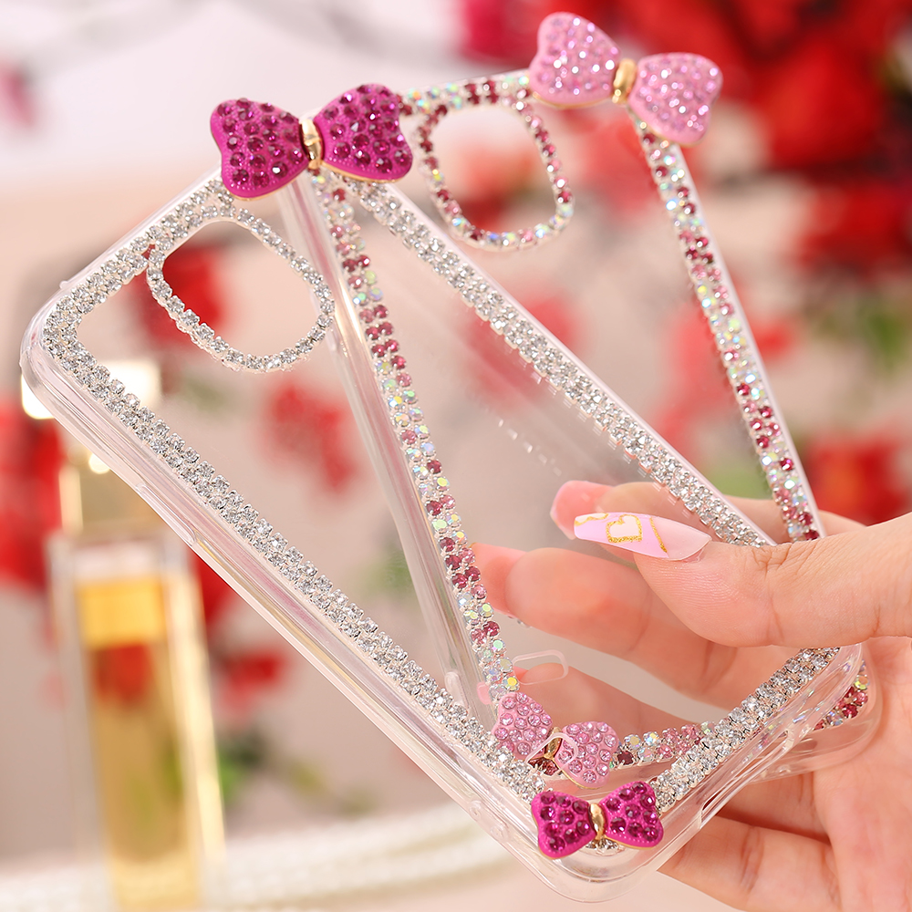 S6/S5/S6 Edge Luxury Glitter Diamond Edge Bling Butterfly Bow Decoration Case For Samsung Galaxy S6/S5/S6 Edge Clear Back Cover(China (Mainland))