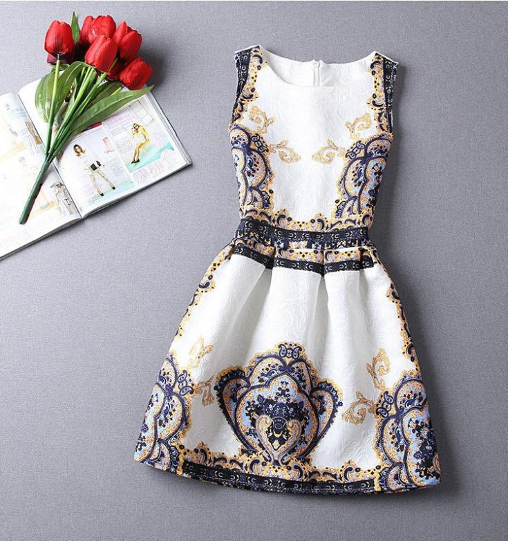 Women mini Dresses Summer o-neck Florals Print A-line Casual elegant evening party short Dress 2015 new fashion plus size - Leisure Online Store store