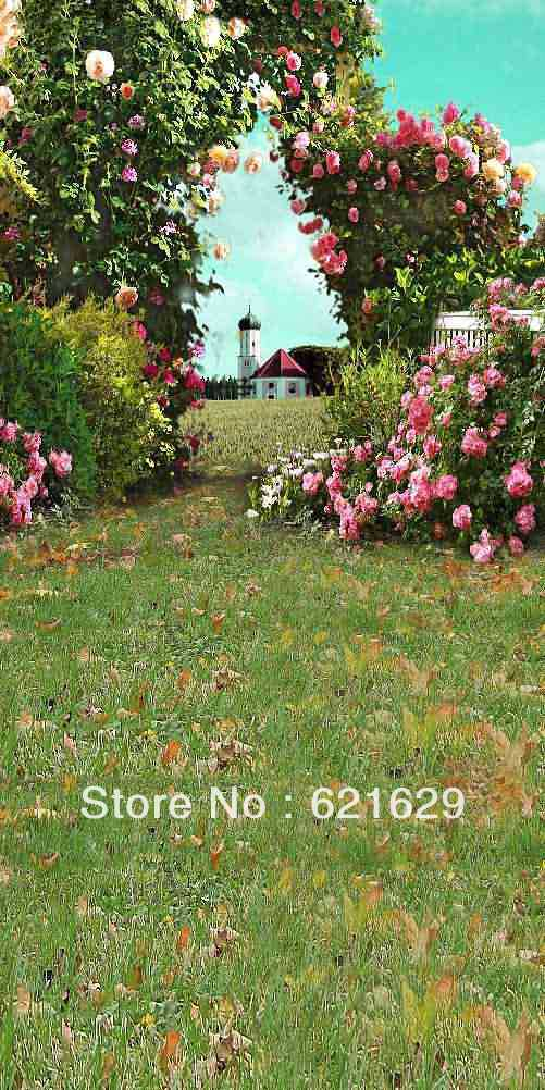 House Behind The Flower Gate 10x20 CP Computer-painted Scenic Photography Background Photo Studio Backdrop  ZJZ-629-1<br><br>Aliexpress