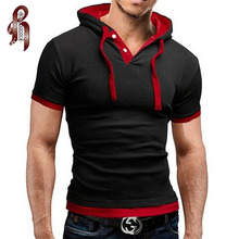 Buy HEYKESON Men'S T Shirt 2017 Summer Fashion Hooded Sling Short-Sleeved Tees Male T-Shirt Slim Male Tops 4XL for $7.62 in AliExpress store
