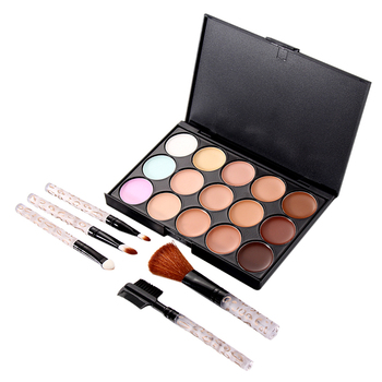 Hight Quality Beautiful Women Makeup Set 15 Colors Concealer Camouflage Concealer Palette 5 PCS Makeup Brush Free Shipping