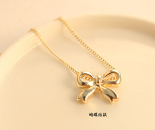 N124-4 Hot 2015 Fashion New Design Cute Bow Pendant Necklace Jewelry Wholesales Women Accessories