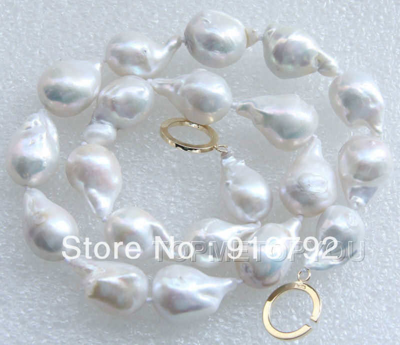 free shipping &gt;&gt;&gt;&gt;&gt;Amazing 19 Natural 22mm Baroque white Reborn Keshi pearls necklace E2162<br><br>Aliexpress