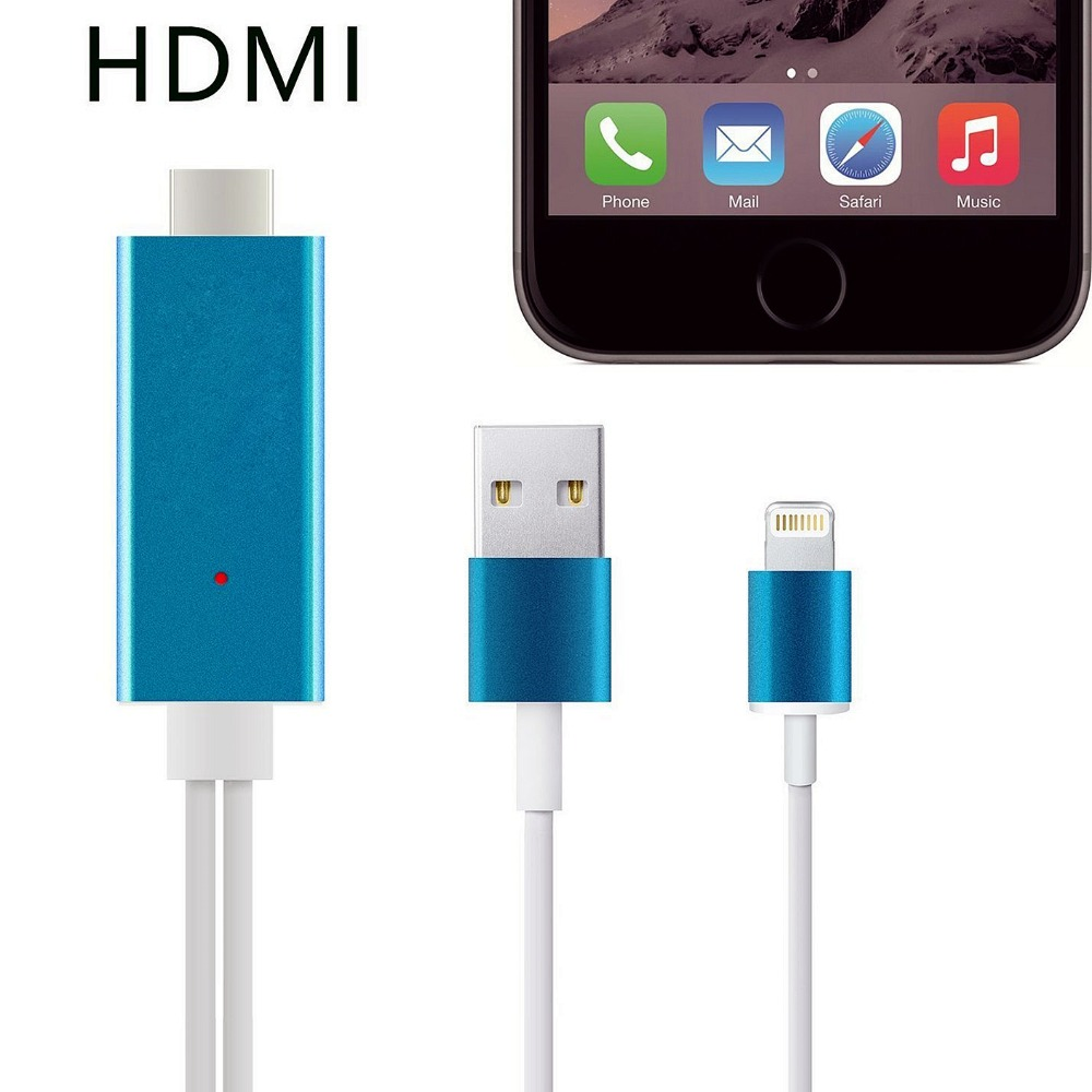 Hight Speed MHL Aluminum 2M 8 Pin to HDMI Cable HDTV AV 1080P USB Cable Adapter Sync For iphone 5 5s 6 6s Plus(China (Mainland))