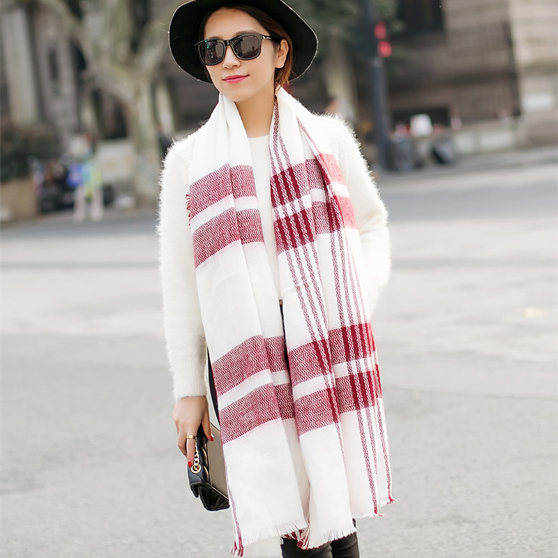 Fashion 200x100cm Winter keep warm acrylic cashmere font b tartan b font plaid scarf brand blanket