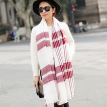 Fashion 200x100cm Winter keep warm acrylic cashmere tartan plaid scarf brand blanket shawl for Lady Women Girl