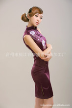 Free Shipping!2013 New Purple Chinese Women's silk cotton Mini Qipao Cheong-sam Evening Dress S-XXL 814# – B