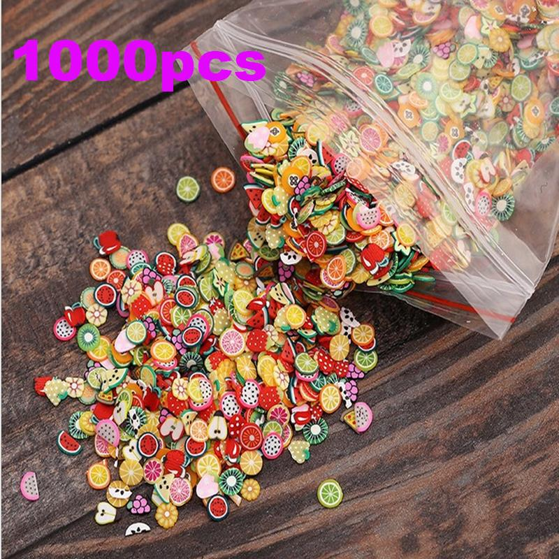 1000pcs/bag Nail Art 3D Fruit Feather Heart Flower Candy Tiny Fimo Slices Polymer Clay DIY Nail Sticker Decoration NA005(China (Mainland))