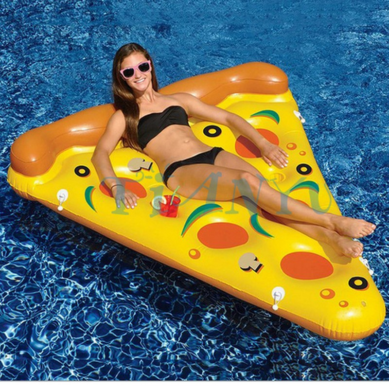 Фотография Hot! 188cm *150cm Inflatable Pepperoni & Pizza Water Floats Swimming Pool Air Raft Floats For Summer Inflatable Swimming Rings