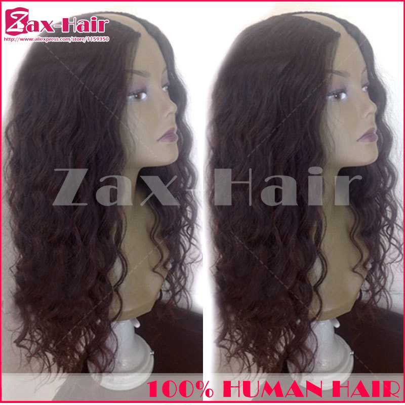 U part wig wavy human hair wigs fashion customized u part wigs virgin hair can be permed Middle/ left/ right 130 density stocked(China (Mainland))