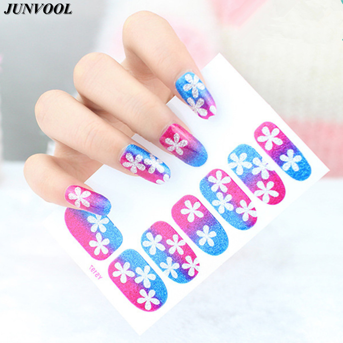 1pcs Nails Art Stickers Flower Style Snowflake Nail Wraps Sticker Watermark Fingernails Decals Wrap Foil Stickers for Nail(China (Mainland))