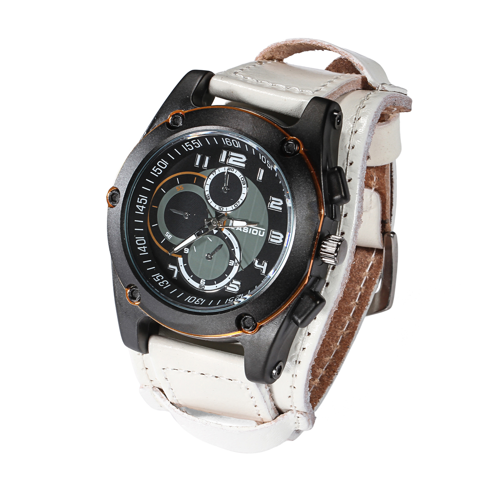 WJ-4277 Lastest Japan movement special three small dials decoration real leather men waterproof watch(China (Mainland))