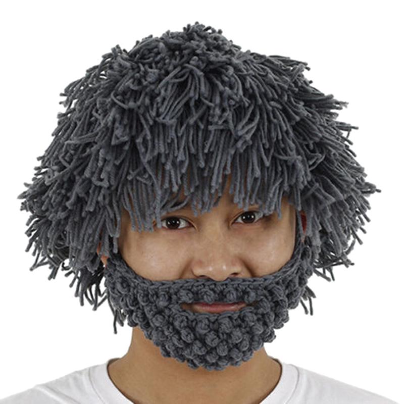Mad Scientist Rasta Caveman Handmade Wig Beard Hobo Hats Knit Warm Winter Caps Men Women Halloween Funny Party Mask Beanies W1(China (Mainland))