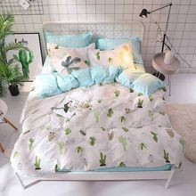 Bonenjoy Green Cactus Bedding Set Queen Size Plant Home Bedding Sheet Single Bed Linen ropa de cama King Bed Set Duvet Cover(China)