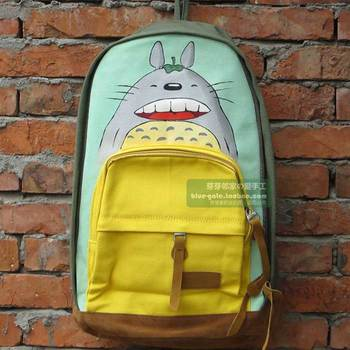 Large totoro canvas school bag backpack female backpack preppy style