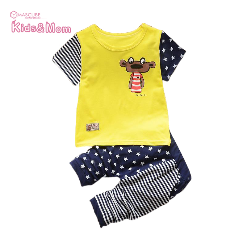 2016 Summer Boys Clothing Sets Baby Boys Girls Clothing Casual Printing Short Sleeve Kids Clothes Children Sport Suits(China (Mainland))