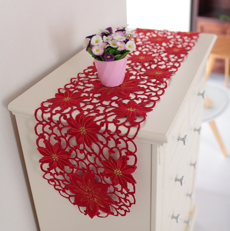 Elegant !!! Red wedding decoration European full hand made embroidered table runner hollow out tablecloth cabinet cover towel(China (Mainland))