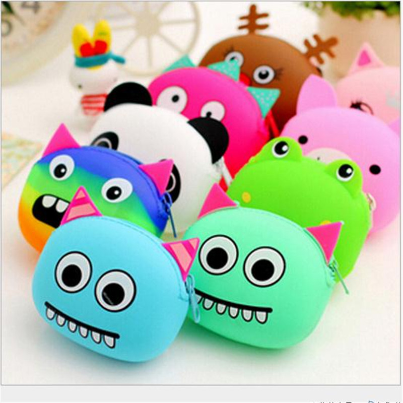 Hot 3D kawaii Cute Cartoon Animal Silicone Coin Purse Wallets Rubber Purse Bags coin case kids wallet fashion girls bag(China (Mainland))
