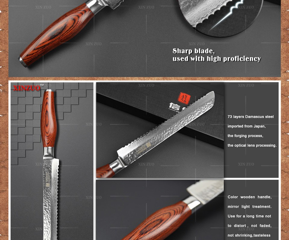 "Buy 2015 New 73 layers 8"" bread knife Japan Damascus steel kitchen knife cake knife with Color wood handle free shipping cheap"