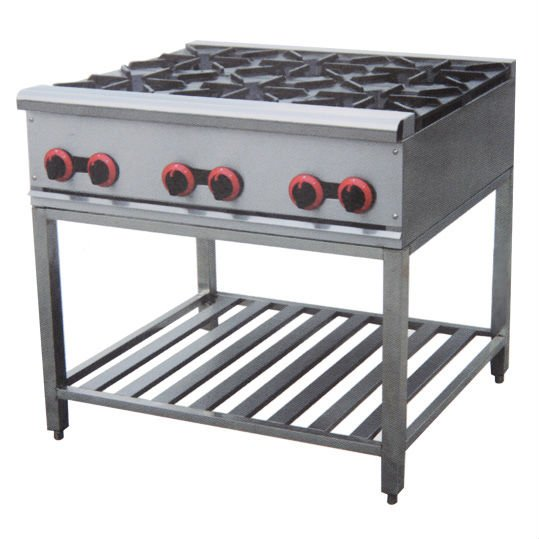PKJG-GH6A stainless steel gas cooking range with 6 burners gas stove(China (Mainland))
