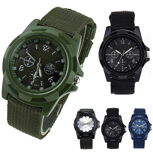 Solider Military Army Men's Sport Style Canvas Belt Luminous Quartz Wrist Watch 4 Colors 08YN - Fashion Topic store