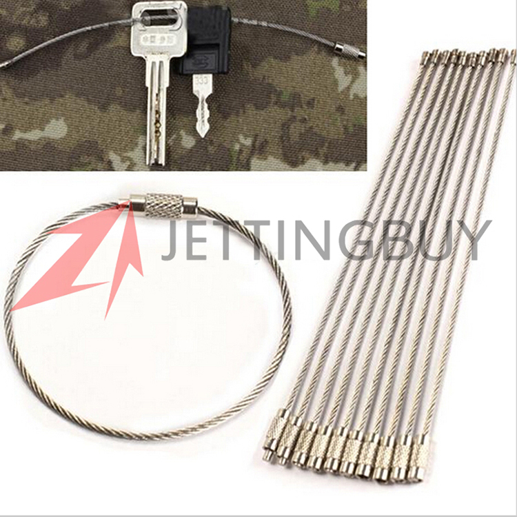 10pcs/lot 150mm Stainless Steel Wire Key Ring Chain Keychain Pendant Loop Climbing Working Aloft Tools Chain with Lock<br><br>Aliexpress