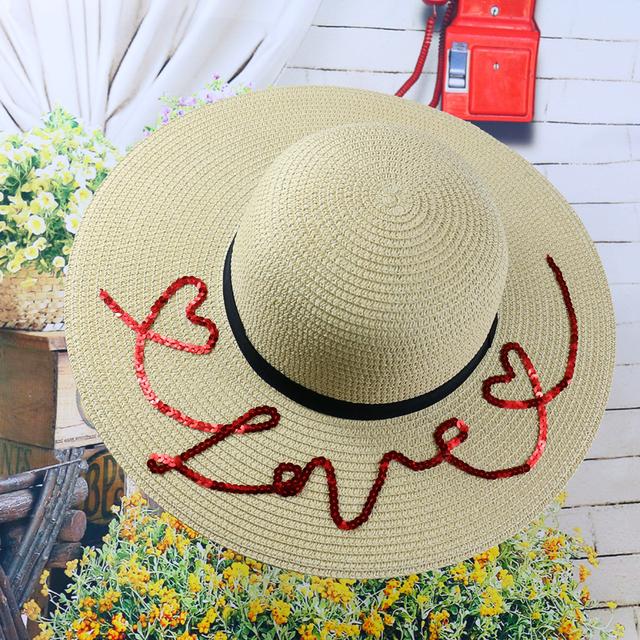 2016 summer thaïlande marée coeur marque alphabet Rafi grande capeline chapeau de paille femme plage vacances