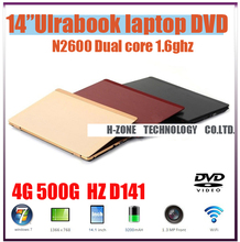 """Cheap Price 14.1""""laptop notebook with Intel Atom N2600 Dual-core 4G ram&500G HDD built in DVD-RW WIFI 1.3MP Webcam HDMI(China (Mainland))"""