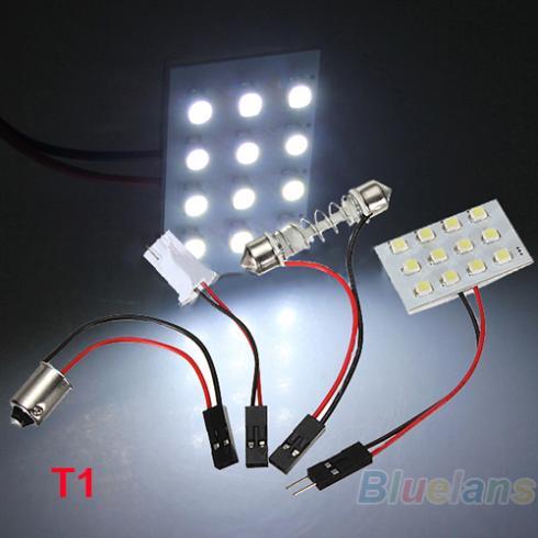 12 24 36 48 LED 3528 SMD Car Light Panel T10 Festoon BA9S Adapter 04ZA