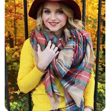 Fashion New style Women Girl Blanket Oversized Tartan Scarf Wrap Shawl Plaid Cozy Checked Beige