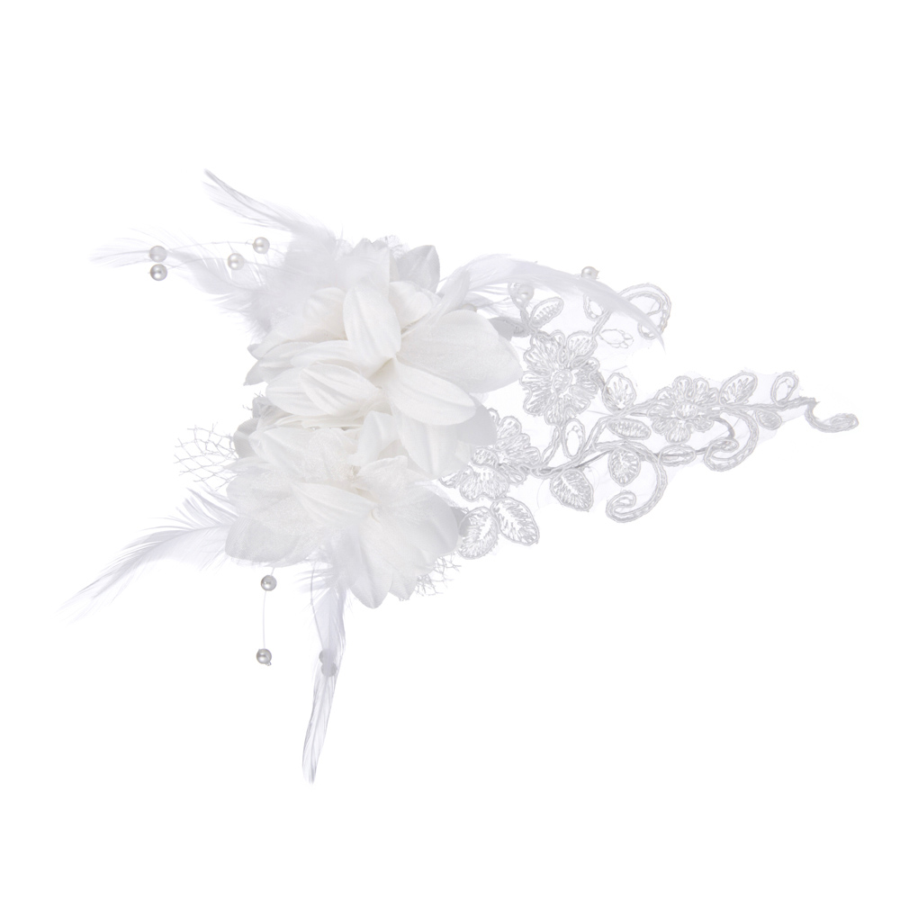 Women Lady Wedding Hairband Fascinator Pure White Headpiece with Gorgeous Satin Lace Feather Rhinestone(China (Mainland))