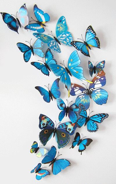 New 12PCS lot 3d blue Magnetic Butterfly Room Wall Decoration Fridge Magnets Sticker Free Shipping