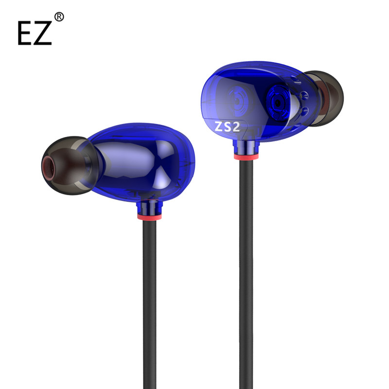 Universal KZ ZS2 Brand Bass Earphone Noise Isolating Stereo DJ HiFi Headset with Microphone for Mobile Phone Xiaomi(China (Mainland))