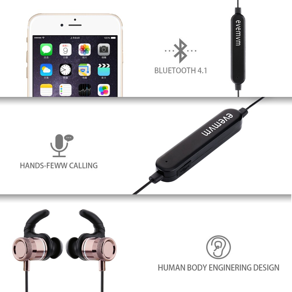 Earphone Headphone Wireless Sport Bluetooth Headset Stereo Earplugs with Microphone for Phone