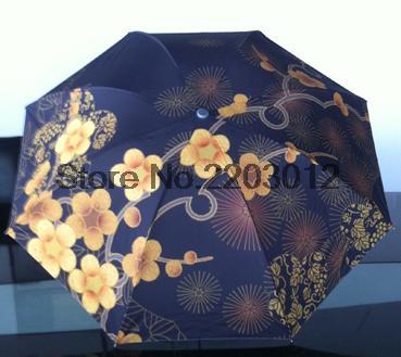 Free shipping oil painting umbrella chinese traditional hand drawing three drawing unti uv durable umbrella(China (Mainland))