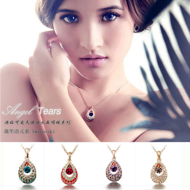Classic Charms Gold Plated Angel Teardrop Crystal Water Drop Pendant And Necklace Wholesale 12pcs/Lot D13R5C