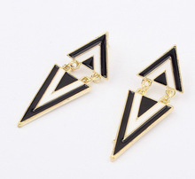 2016 Limited Rushed Round Crystal Zinc Alloy Women Trendy Earings    The Triangle Earrings Cz94336
