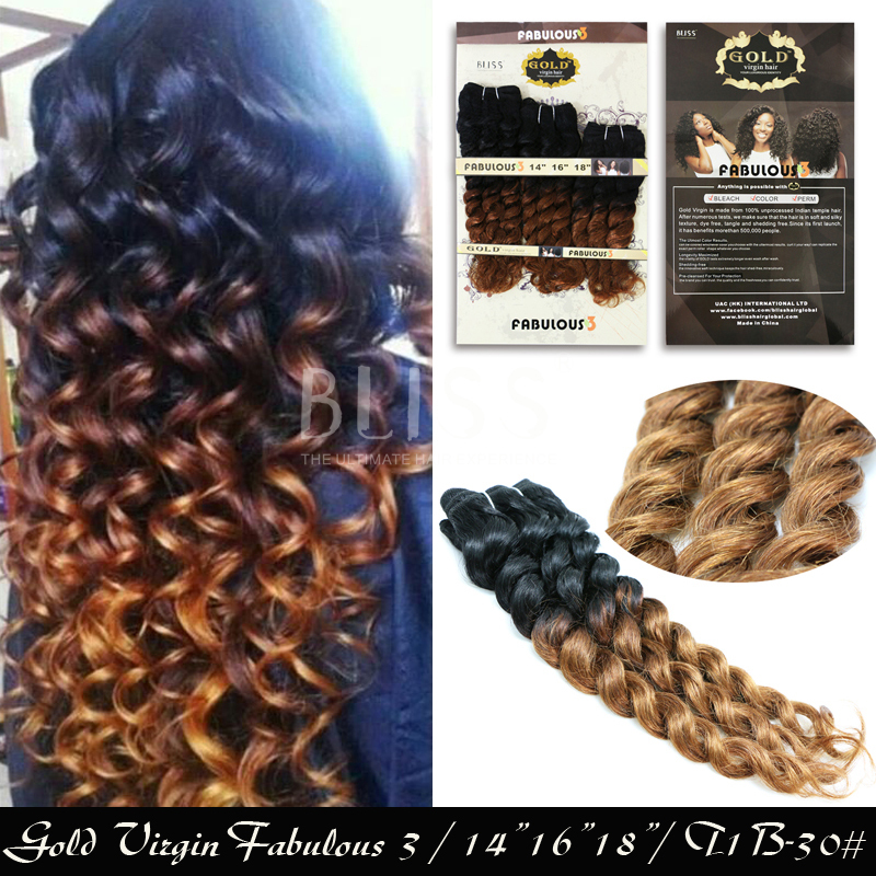 "6A Bliss Hair 3Pcs/ Pack Hair Bliss Gold Remy 180G ( Fabulous 3)14'' 16""18'' Color T1B/30# curly Hair Extentions(China (Mainland))"
