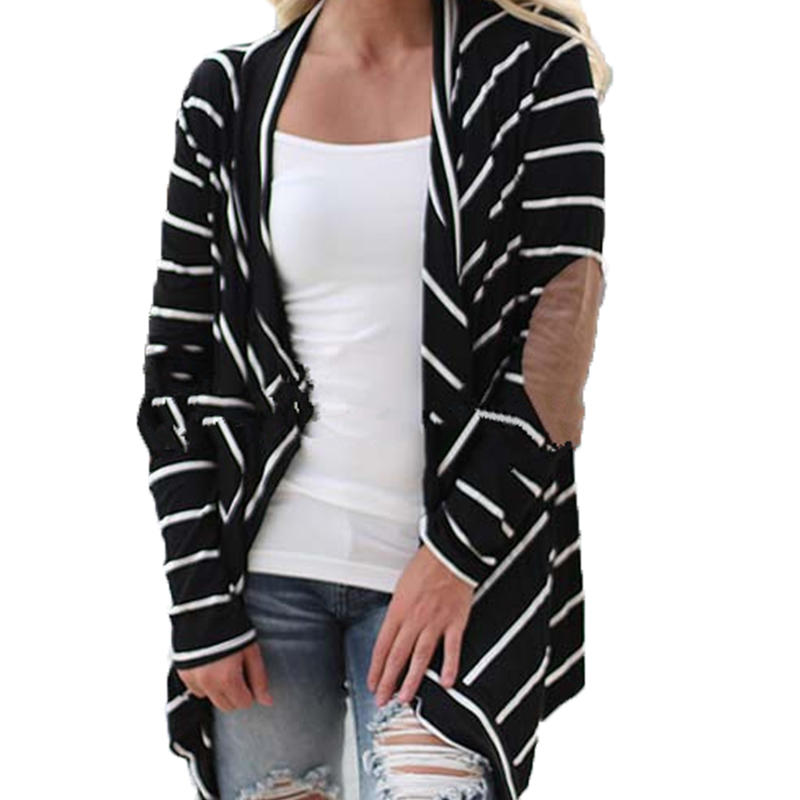 Plus Size 2016 New Vintage Women Loose Cardigan Sweater Autumn Long Sleeve Black White Striped Knitwear Outwear Coats(China (Mainland))