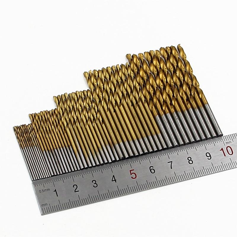 New HSS 50Pcs/Set Twisted Drill Bit Set Saw Set Steel Titanium Coated Drill Woodworking Wood Tool 1/1.5/2/2.5/3mm For Metal(China (Mainland))