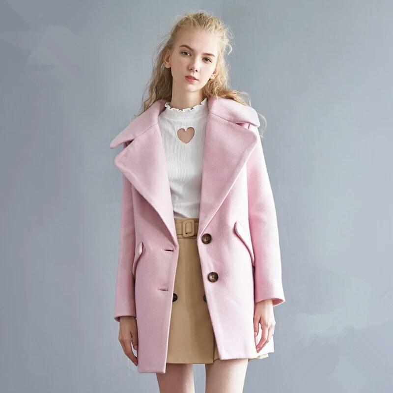 Baby Pink Wool Coat