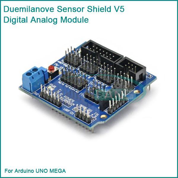 Гаджет  For Arduino UNO MEGA Duemilanove Sensor Shield V5 Digital Analog Module Servo Motor None Электронные компоненты и материалы