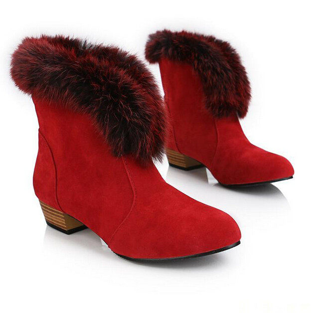 New Fashion Pointed Toe Women Autumn Winter Snow Shoes Rabbit Fox Fur Warm Snow Boots Plush Genuine leather Lady Ankle boots <br><br>Aliexpress