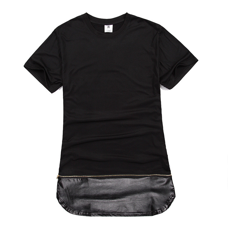 Zip long pu leather mens extended t shirt black white tee for Mens white leather shirt