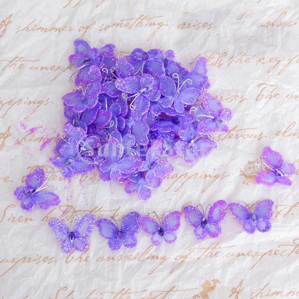 Free Shipping 50pcs Wired Mesh Stocking Glitter Butterflies - Purple(China (Mainland))