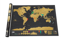 Free shipping Deluxe Black Scratch off Map World Map Best Decor(China (Mainland))