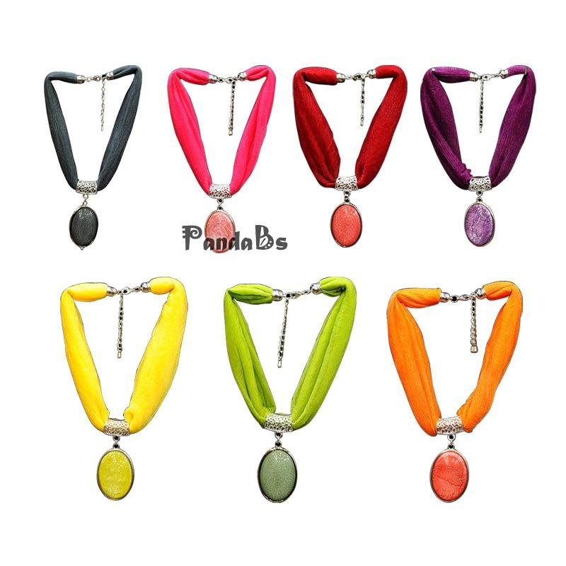 Fashionable Women Ladies Spring Autumn Accessories Ribbon Zinc Alloy Resin Oval Pendant Scraf Choker Necklaces, Mixed Color, 15(China (Mainland))