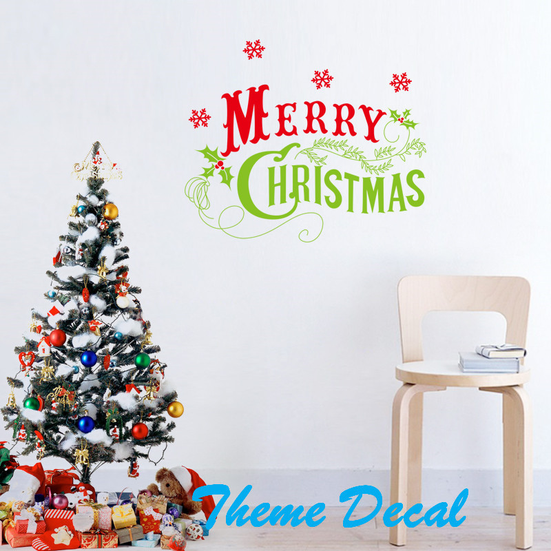 58 49cm Merry Christmas English Letters Quote Snow Home