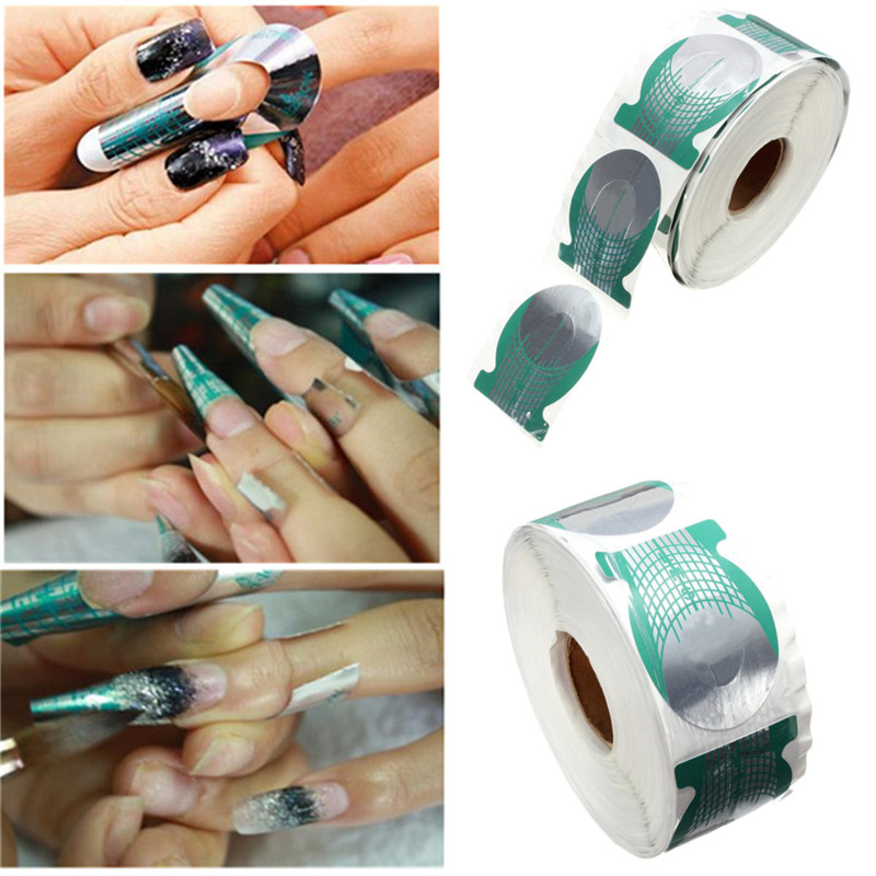 500pcs/roll Nails Extension Form Green Horseshoe Shape Nail Art Tip Roll Acrylic DIY Tools Curve Gel Guide Stickers HB8(China (Mainland))