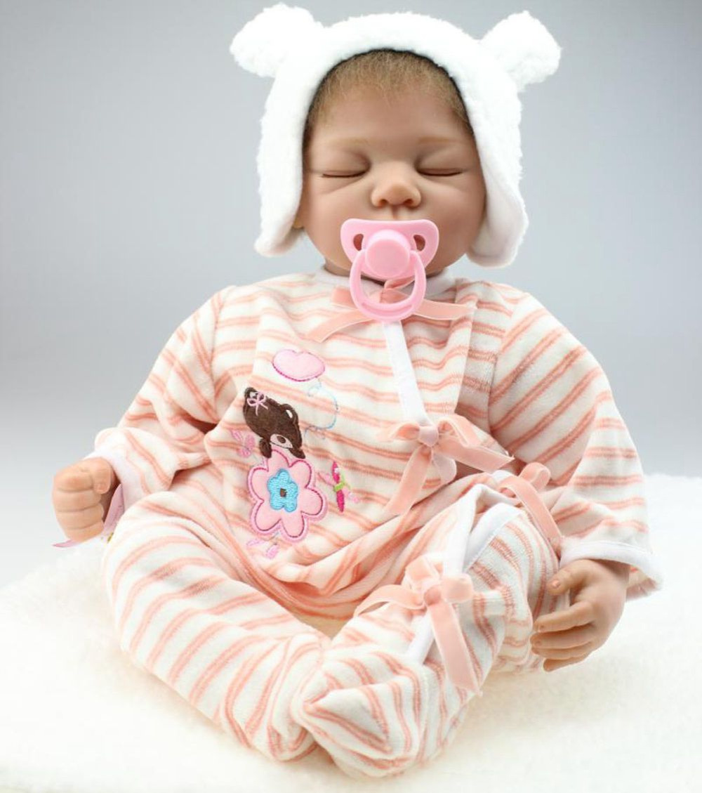 22inch Lifelike Reborn Baby Soft Silicone Sleeping Girl Doll Kits Handmade Gift Toys Hot Sale Women Collects